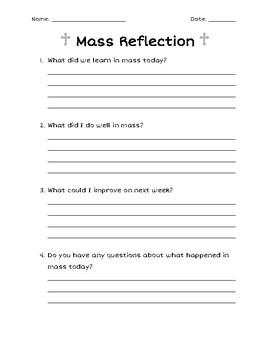 Church/Mass Reflection Sheet