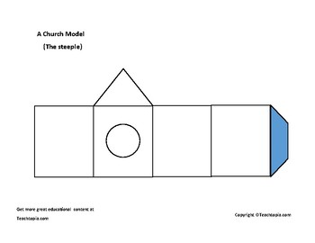 Church Model to cut out and build.  Includes steeple.