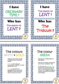 "Church Seasons & Colours (Liturgical Calendar) ""I Have Who Has"", plus Board Game"