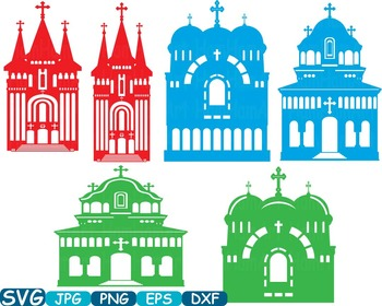 Church Silhouettes sticker buildings clipart religion Jesus Construction -340s