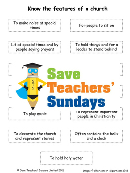 Churches Lesson Plan, PowerPoint, Cards and Worksheets / Activity