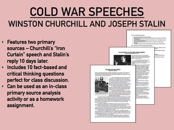 Churchill and Stalin Speeches worksheet - Cold War - Global/World/US History