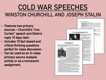 Churchill and Stalin Speeches worksheet - Cold War - Globa