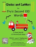5 Chutes and Ladders Game Boards for Fry's SECOND 100 Sight Words
