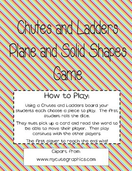 Chutes and Ladders Plane and Solid Shapes