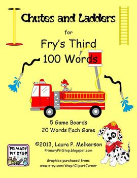 5 Chutes and Ladders Sight Word Game Boards for Fry's THIRD 100 Words