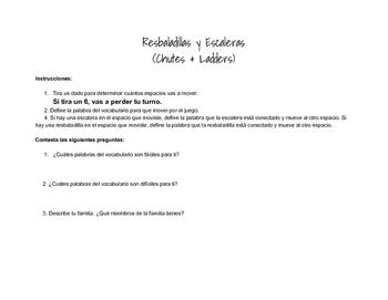 Chutes and Ladders Spanish Family Game - La Familia