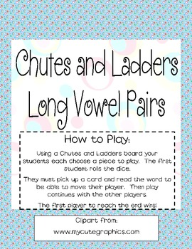 Chutes and Ladders Vowel Pair Game Cards