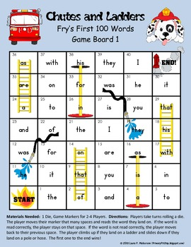5 Chutes and Ladders Game Boards for FRY's FIRST 100 Sight Words