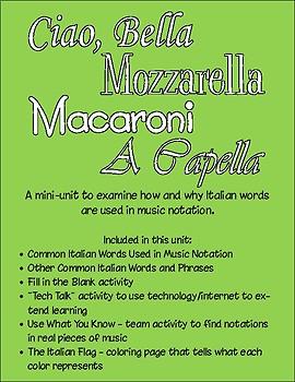 Ciao Bella, Mozzarella, Macaroni, A Capella - Italian Notation in Music