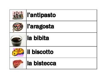 Cibi (Food in Italian) word wall