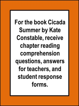 Cicada Summer by Kate Constable Book Unit