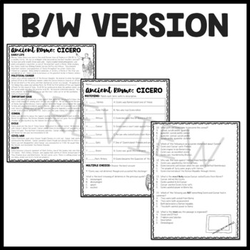 Cicero  Biography Reading Comprehension Worksheet; Ancient Rome