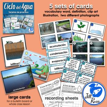 Ciclo del Agua Water Cycle Spanish Tarjetas de practica