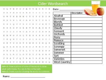 Cider Wordsearch Sheet Food and Drink Starter Activity Keywords Homework