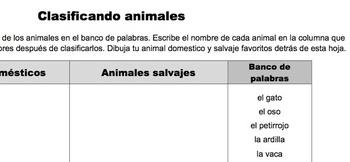 """Ciencias: Animales: Clasificar: """"Doméstico o salvaje"""""""