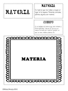 Ciencias: Materia en Español. Lap folder.