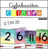 Cijferkaarten 0 t/m 20 met vijfstructuur {watercolor rainbow}