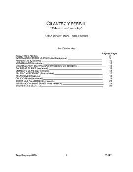 Cilantro y Perejil-Spanish Study Guide