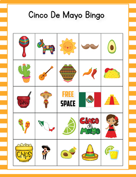 Cinco De Mayo Bingo Game - Cinco de Mayo Activities Kindergarten