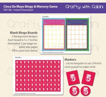 Cinco De Mayo Bingo & Memory Game, 2 in 1 Cinco De Mayo Games