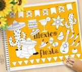 Cinco De Mayo Clipart, Fiesta Mexico - BLACKLINE - color me, with outlines