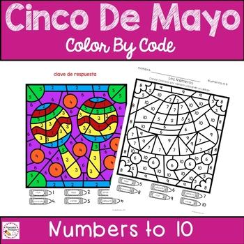 Cinco De Mayo Color By Number Spanish Version