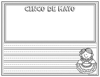 Cinco De Mayo Coloring and Writing Pages, Fiesta, Celebration