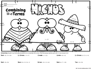 Mexican Food - Combining Like Terms Color By Number Worksheet- Nacho Cuties