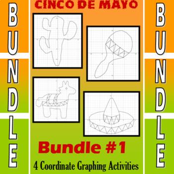 Cinco de Mayo - 4 Coordinate Graphing Activities - Bundle #1