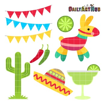 Cinco De Mayo Festival Clip Art - Great for Art Class Projects!