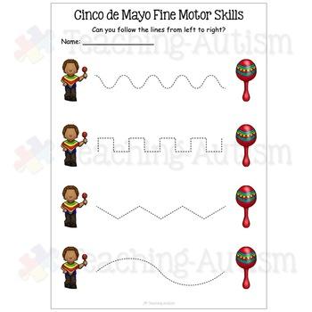 Cinco De Mayo Fine Motor Skills Worksheets