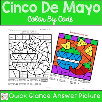 Cinco De Mayo Color By Number Addition to 20
