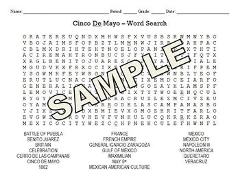 Cinco De Mayo - May 5th Word Search and Jumble Puzzle
