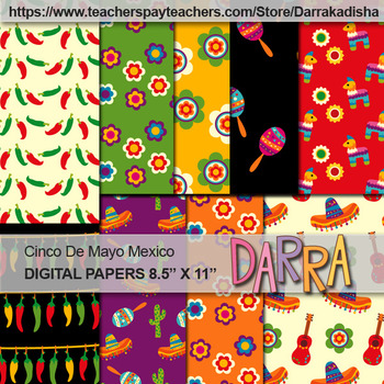 Cinco De Mayo Mexican Digital Papers Patterned Background