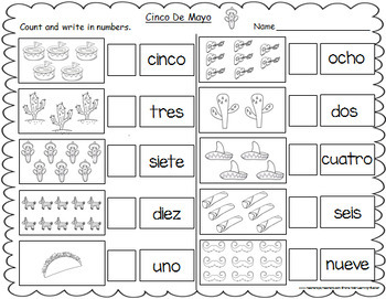 Cinco De Mayo Themed Spanish Number Words Worksheets (1-10)
