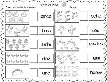 cinco de mayo themed spanish number words worksheets 1 10 tpt. Black Bedroom Furniture Sets. Home Design Ideas