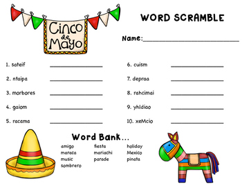 Cinco De Mayo Word Scramble