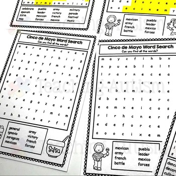 Cinco De Mayo Word Search Worksheets