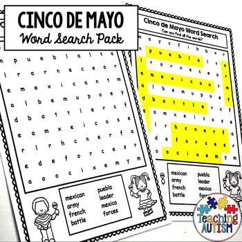 Cinco de Mayo Word Search Worksheets