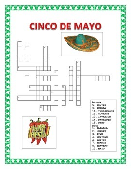 Cinco De Mayo - Word Search Spanish/English and Cross Word Puzzle