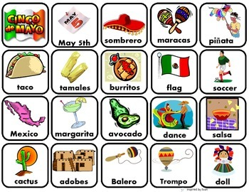 Cinco De Mayo Words Matching/Memory Game/Flashcards for Autism