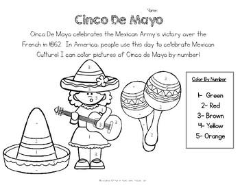 Cinco De Mayo Worksheet- Color by Number- FREE
