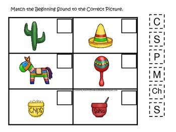 Cinco De Mayo themed Match the Beginning Sound preschool learning game.