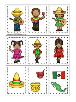 Cinco De Mayo themed Memory Matching preschool learning game.