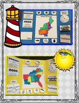 Cinco Regiones de los Estados Unidos Lapbook Bundle