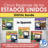 Cinco Regiones de los Estados Unidos Unit Distance Learning Bundle