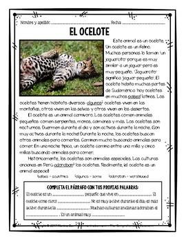 Cinco animales en peligro de extinción - Endangered species readings in Spanish