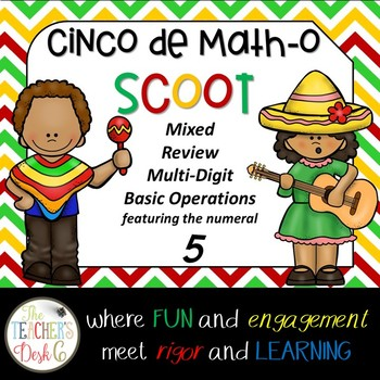 Cinco de Math-o SCOOT Multi-Digit Operations Featuring the Numeral 5