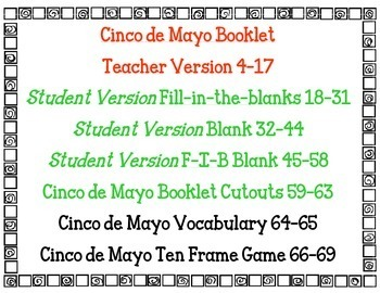 Cinco de Mayo literacy and math activities